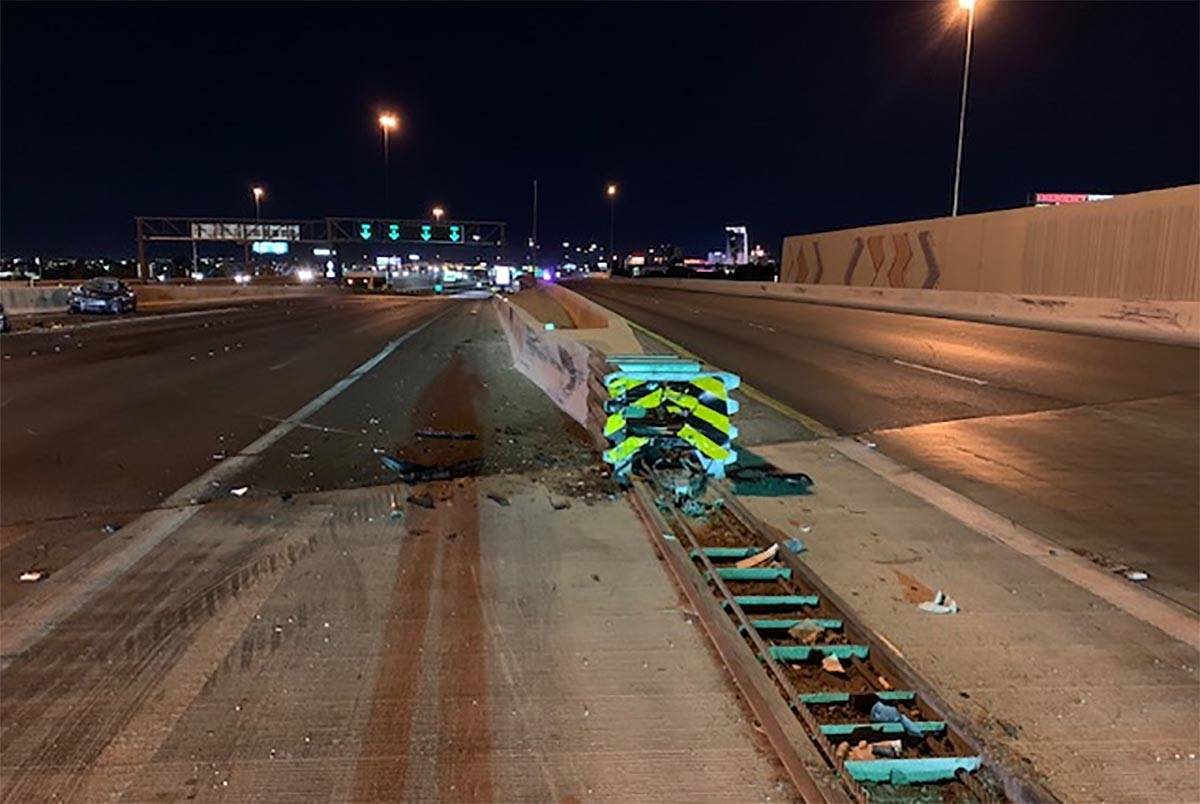 A motorcyclist died in a crash on U.S. Highway 95 in the Spaghetti Bowl on Sunday, Nov. 29, 202 ...