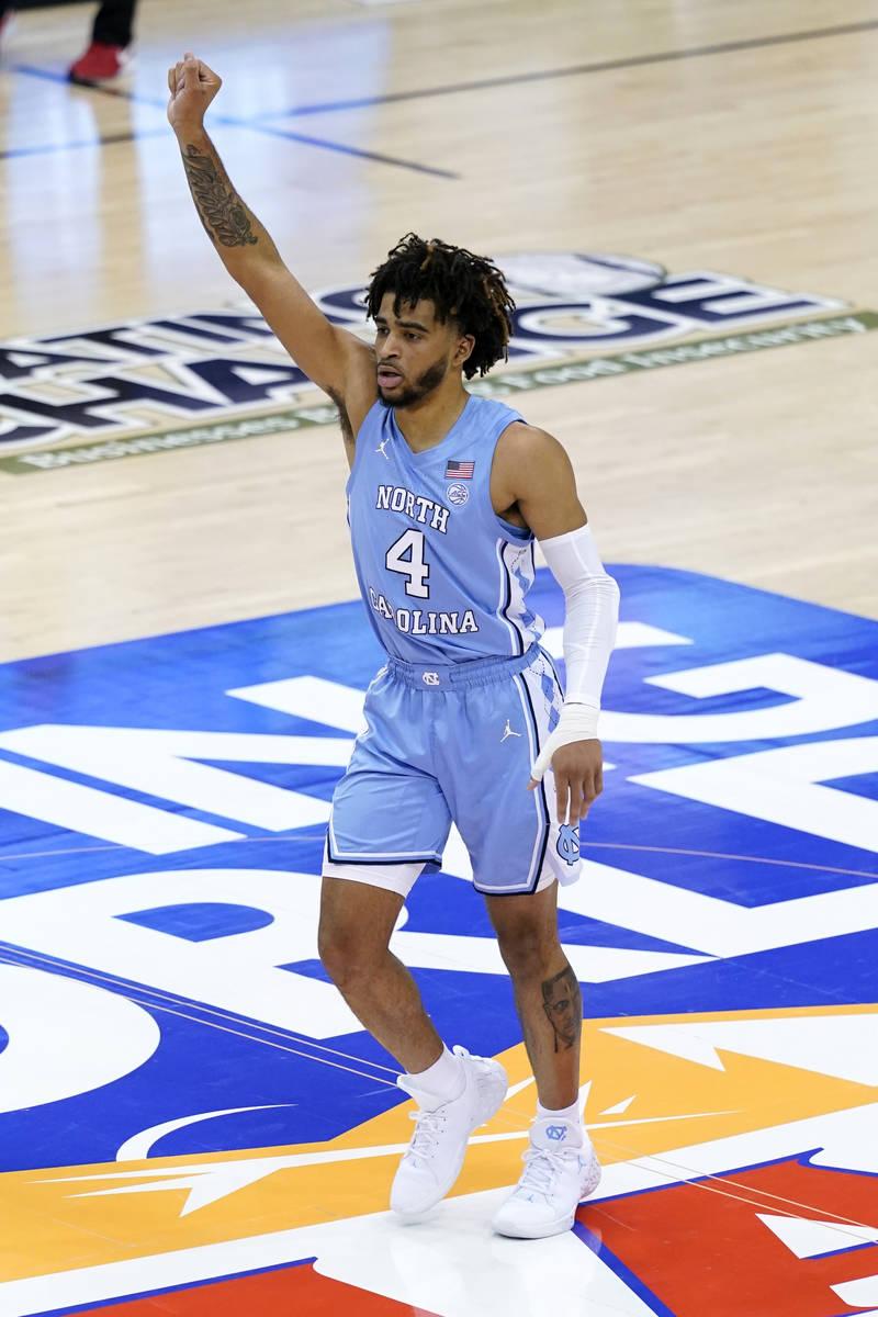 North Carolina guard R.J. Davis (4) celebrates his three-point basket against UNLV in the secon ...