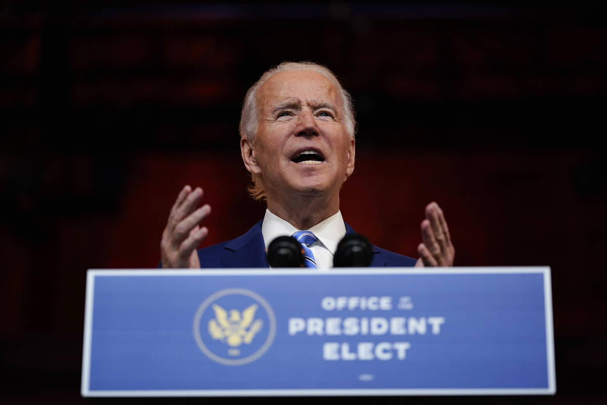 President-elect Joe Biden speaks at The Queen theater Wednesday, Nov. 25, 2020, in Wilmington, ...
