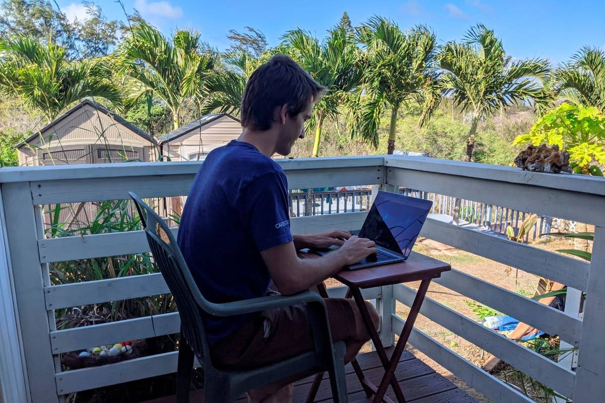 Raymond Berger, a New York City software engineer, works remotely on Nov. 22, 2020, in Kahului, ...