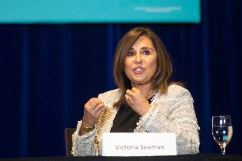 Las Vegas City Councilwoman Victoria Seaman speaks to President Donald Trump and the Latinos fo ...