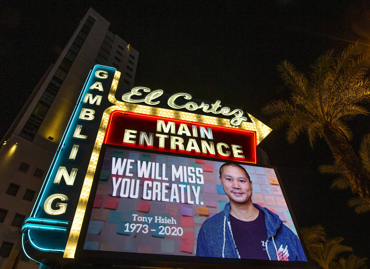 A sign at El Cortez features a tribute to former Zappos CEO and Downtown Project founder Tony H ...