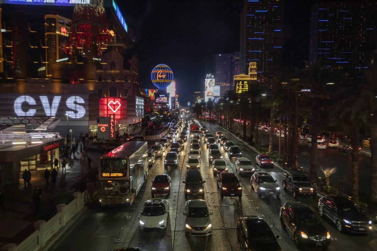 Heavy traffic moves through the Strip on Las Vegas Blvd., Friday, Nov. 27, 2020, in Las Vegas. ...