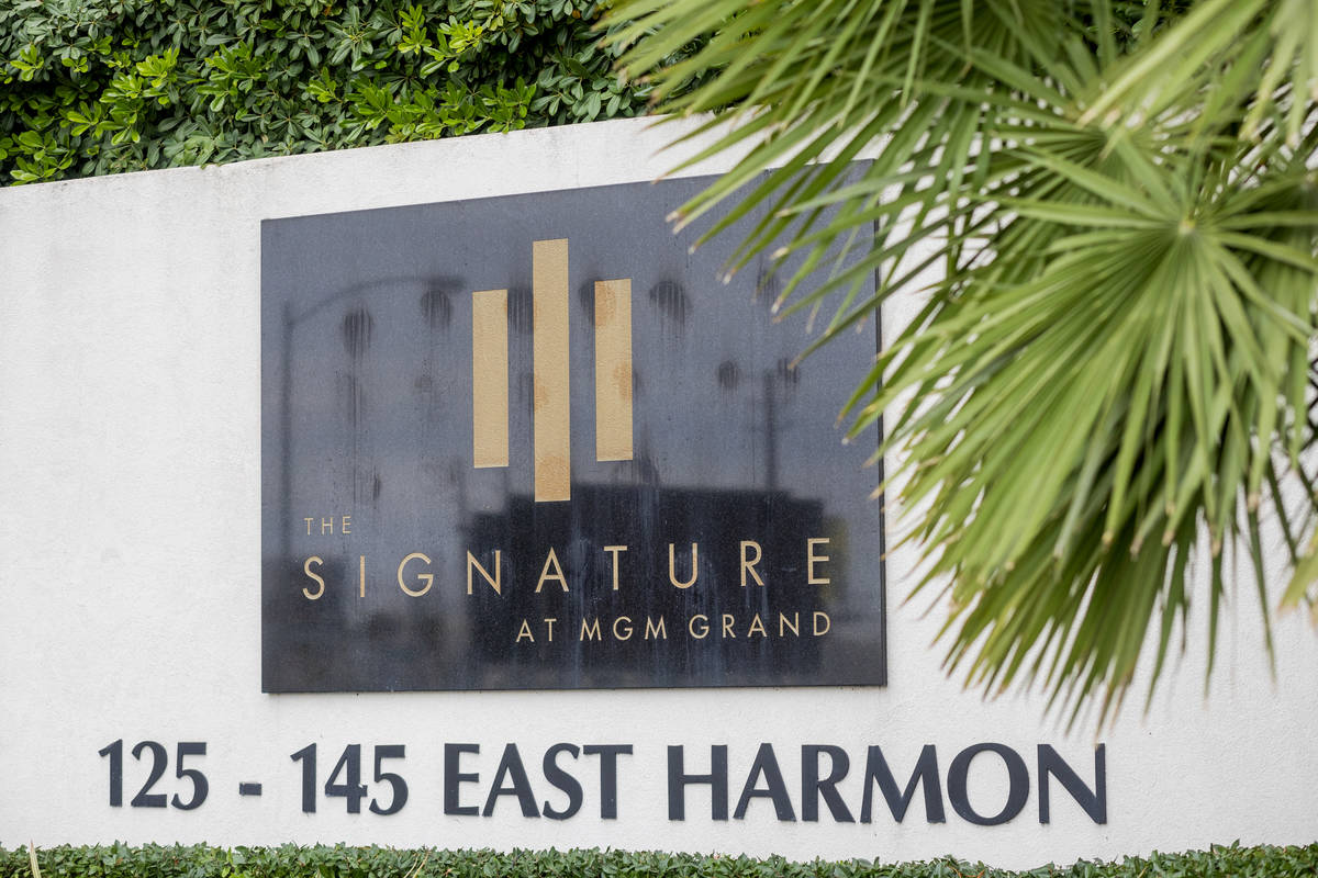 The Signature at MGM Grand is seen adjacent to the Las Vegas Strip on East Harmon Avenue on Fri ...