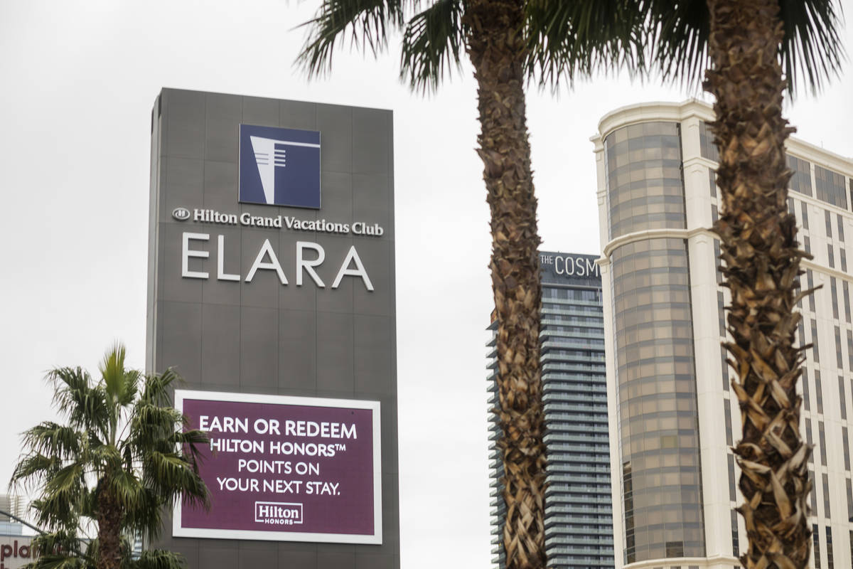 The Elara by Hilton Grand Vacations is seen adjacent to the Las Vegas Strip on East Harmon Aven ...