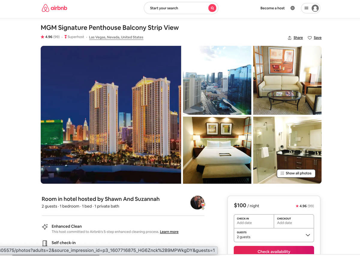 This screenshot from airbnb.com shows a unit available to rent in Las Vegas. (airbnb.com)