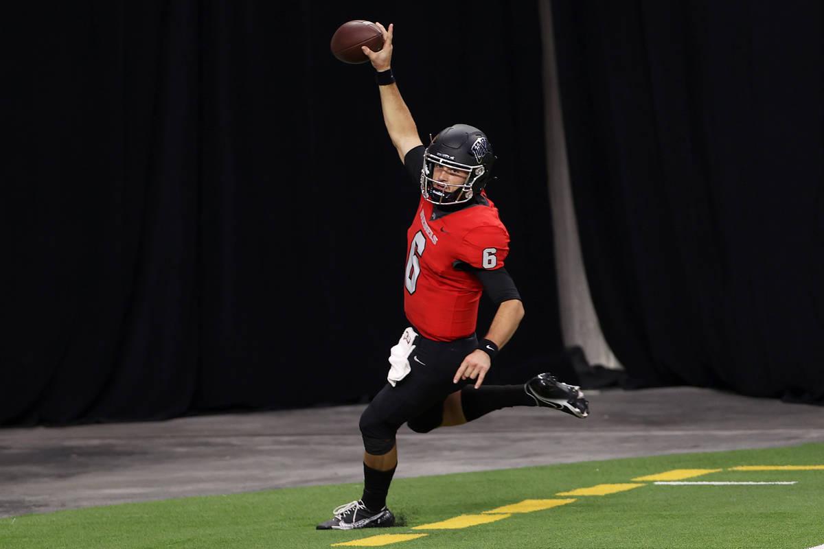 UNLV Rebels quarterback Max Gilliam (6) celebrates a rushing touchdown against the Fresno State ...