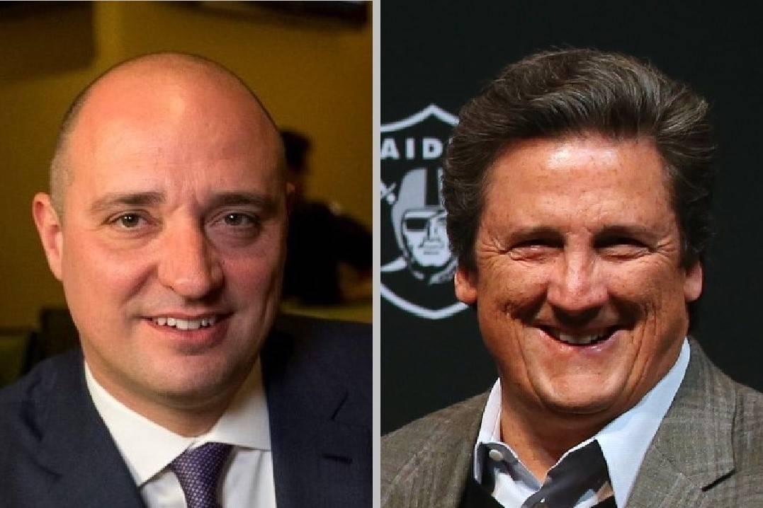 Wynn Resorts Ltd. CEO Matt Maddox, left, and MGM Resorts CEO Bill Hornbuckle. (Las Vegas Review ...
