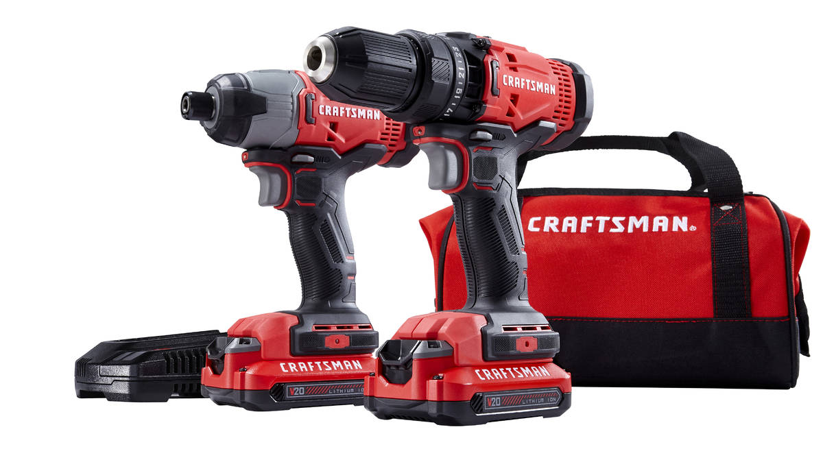 Craftsman's affordable two-tool kit includes soft carrying case, drills, charger and two batter ...