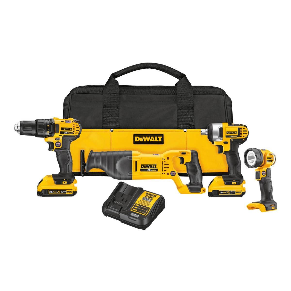 The DeWalt four-tool combo kit includes drill/driver, impact wrench, reciprocating saw, LED wor ...