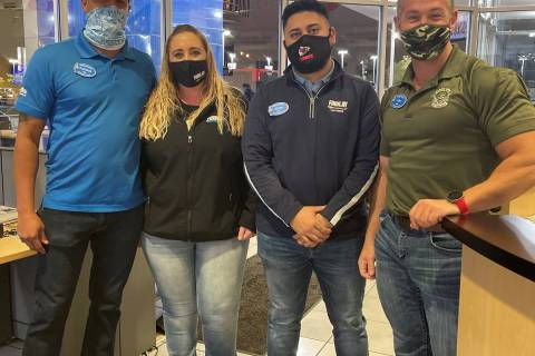 Findlay Chevrolet employees Patrick Patterson, from left, Cassie Hurley, Kevin Flores and Tony ...