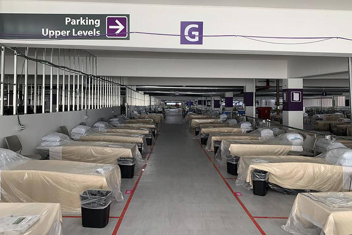 FILE - Hospital beds sit inside Renown Regional Medical Center's parking garage, which has been ...