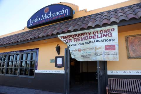 Lindo Michoacán, 2655 E Desert Inn Road, in Las Vegas on Tuesday, Dec. 1, 2020. (Erik Verd ...
