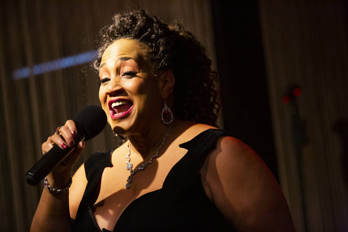 """Michelle Johnson performs during rehearsal for """"A Vegas Room Christmas"""" at The Vegas ..."""