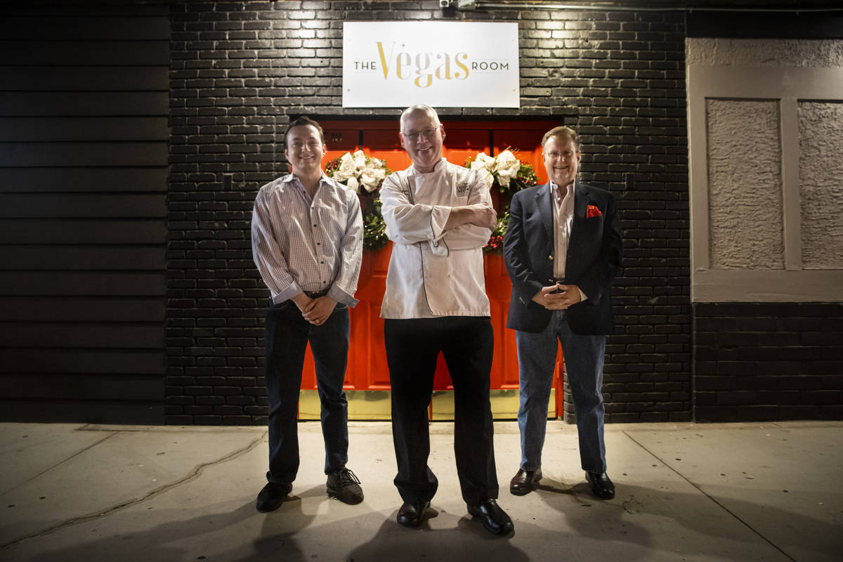 David James Robinson, chef and owner of The Vegas Room, poses for a portrait with Sean Stephens ...