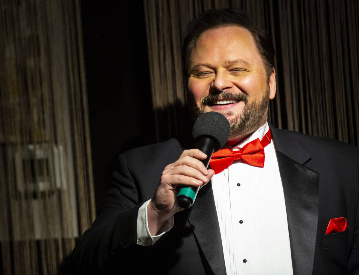 """Randal Keith performs during rehearsal for """"A Vegas Room Christmas"""" at The Vegas Room ..."""