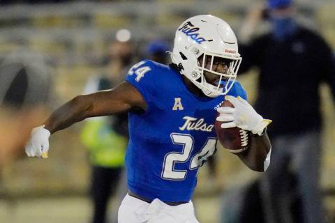 Tulsa running back Corey Taylor II (24) carries during an NCAA college football game against Tu ...