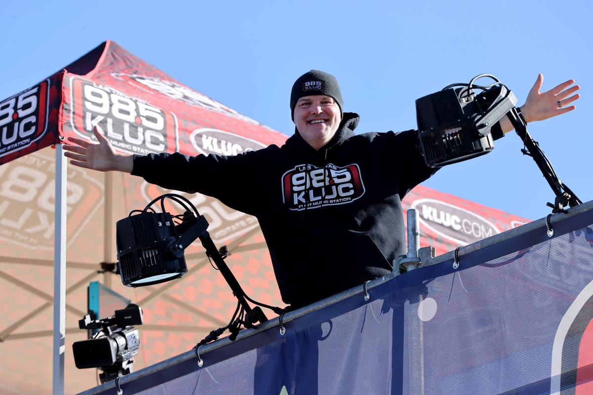 Chet Buchanan of KLUC-FM atop a 30-foot scaffolding during his toy drive in the NV Energy parki ...