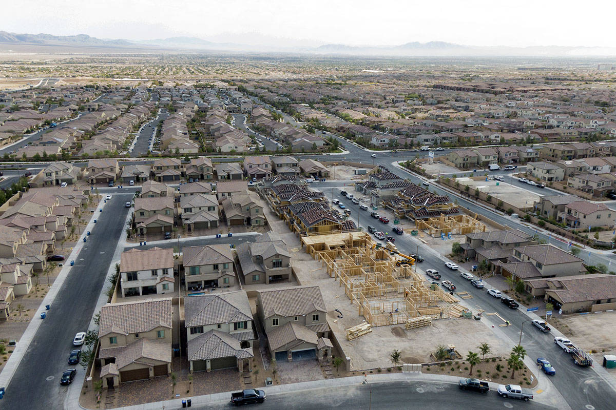 An aerial view of new home construction near Skye Village Road and Eagle Canyon Avenue on Monda ...