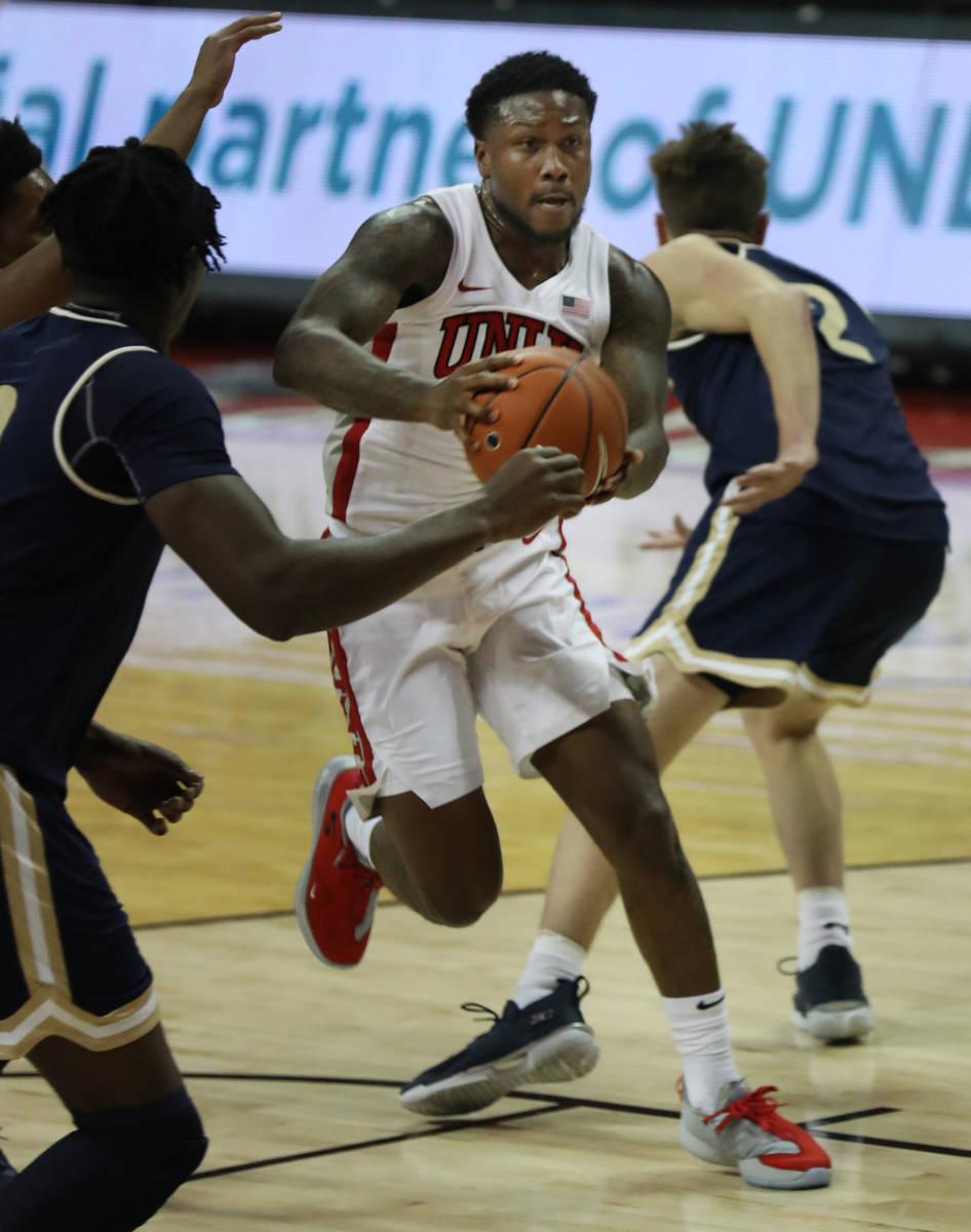 UNLV Rebels guard David Jenkins Jr. (5) dribbles the ball past Montana State Bobcats during the ...
