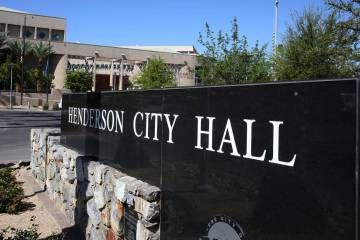 Henderson City Hall on Water Street in downtown Henderson. (Bizuayehu Tesfaye/Las Vegas Review- ...