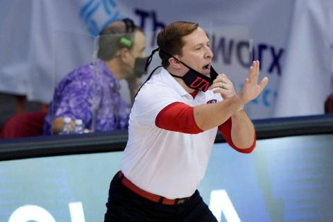 UNLV head coach T.J. Otzelberger directs his team in the first half of a game against North Car ...