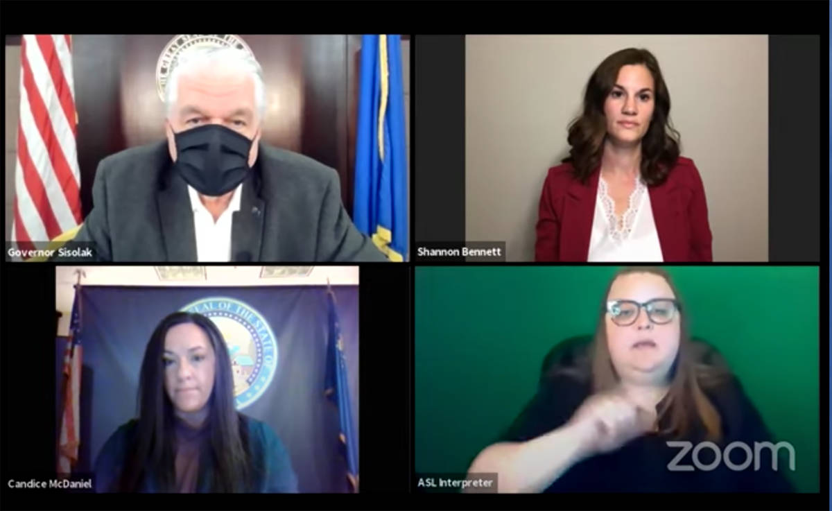 Nevada Governor Steve Sisolak press conference with Shannon Bennett, Candice McDaniel and ASL i ...