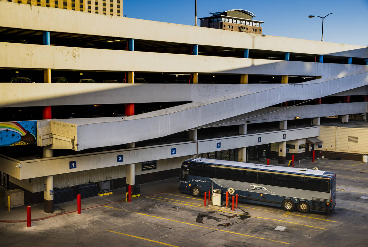 A lone Greyhound bus parked at the terminal downtown at a building which will be redeveloped by ...