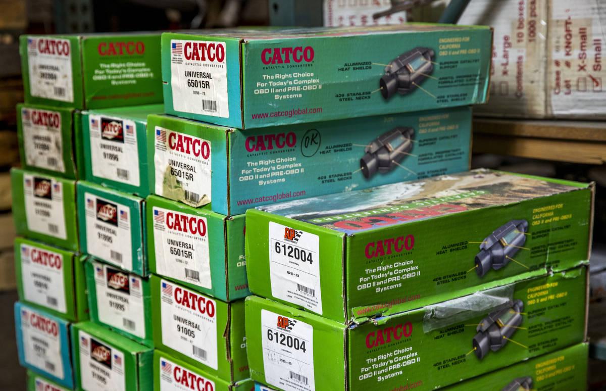 Catco catalytic converters in stock at the Supreme Automotive Warehouse on Nov. 24, 2020. (L.E. ...