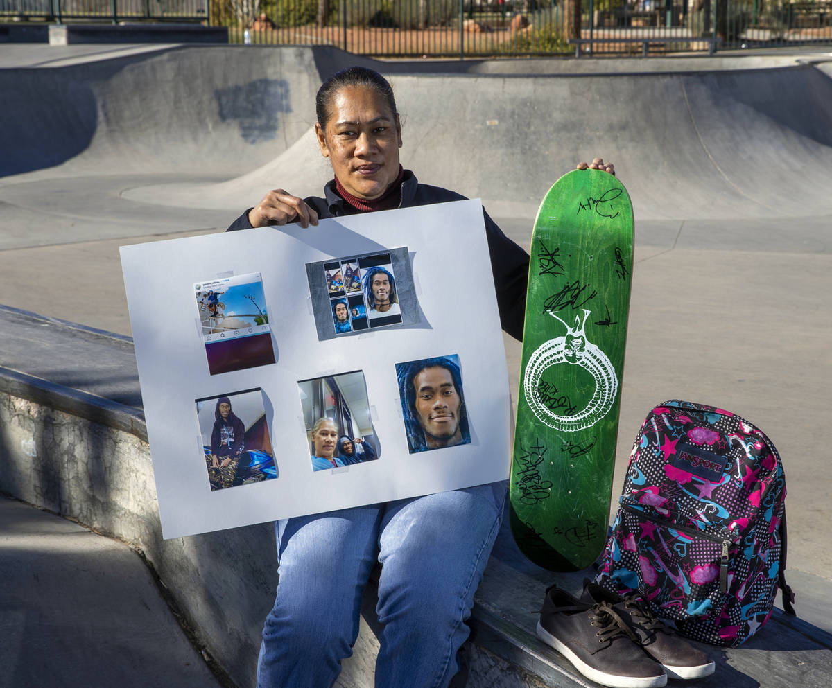 Evelini Gibbs, the mother of the victim of a fatal motorcycle accident at her son's favorite sk ...
