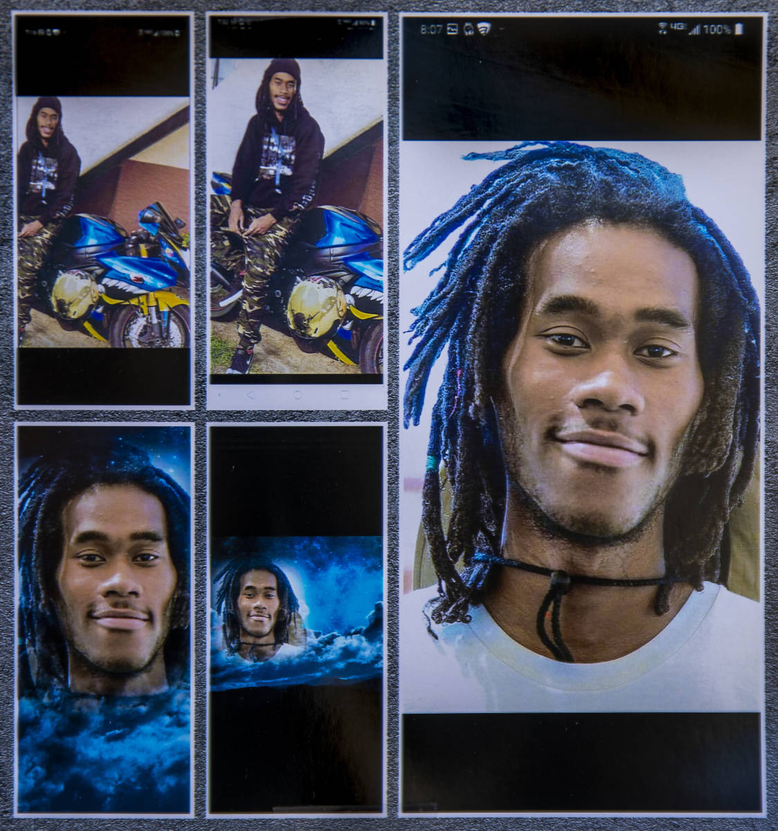Images of Genesis Atkins, a motorcyclist who was killed Sunday evening when struck by another v ...