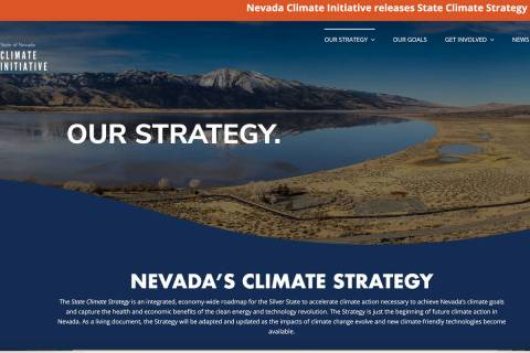 This screenshot shows an image from the climateaction.nv.gov website. The inaugural State Clima ...