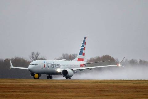 An American Airlines Boeing 737 Max takes off at Tulsa International Airport to fly to Dallas W ...