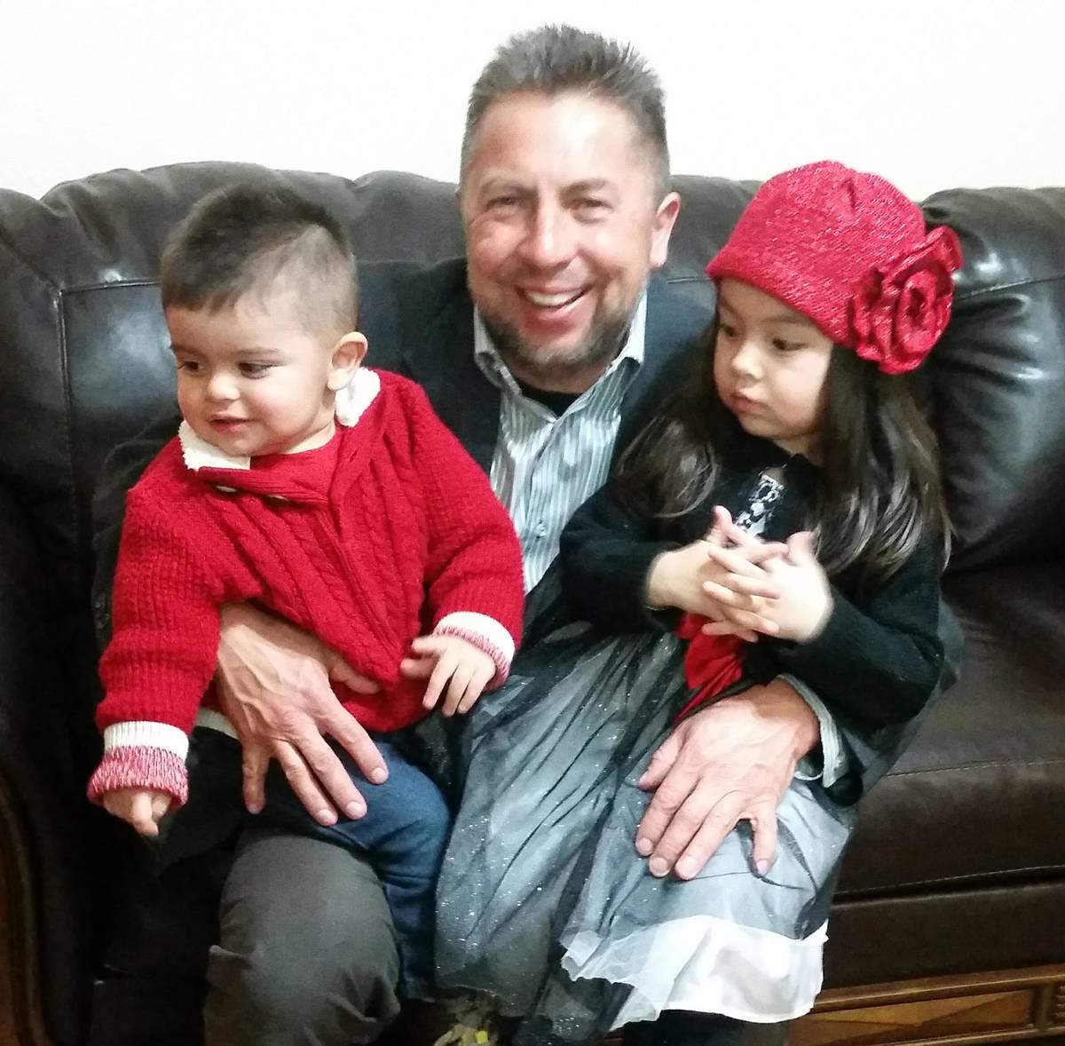 Javier Barajas with his children, Javier III, left, and Jimena. (Javier Barajas)