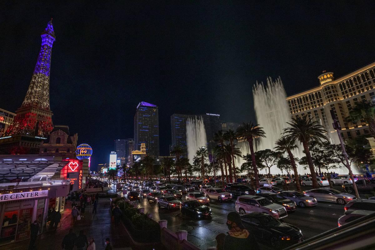 Heavy traffic moves through the Strip on Las Vegas Blvd., Friday, Nov. 27, 2020, in Las Vegas. ...