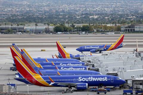 A Southwest Airlines plane taxis at McCarran International Airport in Las Vegas Thursday, Oct. ...
