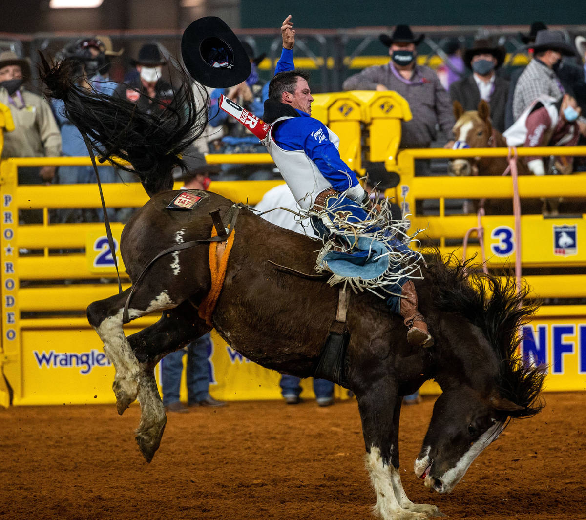 PRCA first round bareback winner Richmond Champion competes during the opening night of the Nat ...
