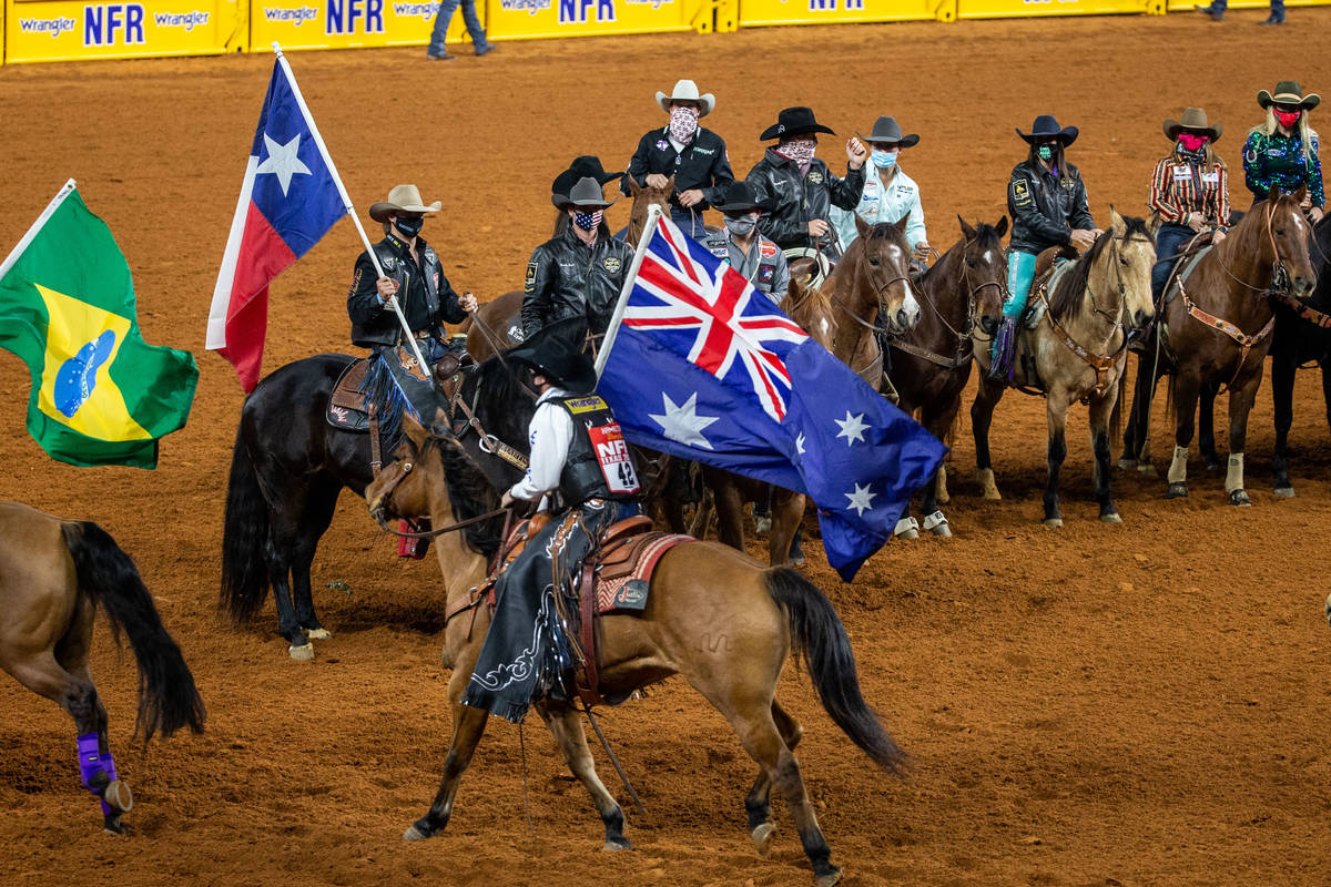 PRCA contestants from around the world gather during the opening night of the National Finals R ...