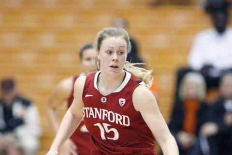 Stanford's Lindy La Rocque (15) brings the ball up court during an NCAA basketball game with Or ...