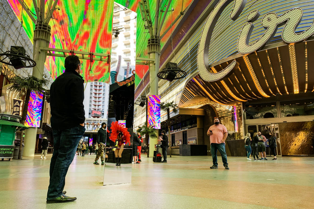 A 10-foot monolith stands under the Fremont Street Canopy in Las Vegas Friday, Dec. 4, 2020. (E ...