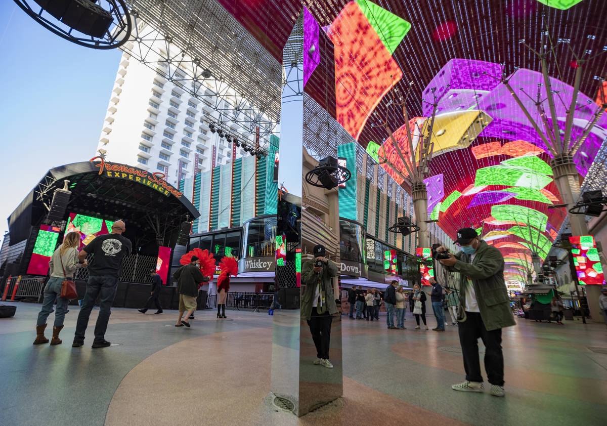 A 10-foot monolith stands under the Fremont Street Canopy in downtown Las Vegas Friday, Dec. 4, ...