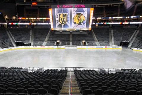 T-Mobile Arena is empty on Sunday, Aug. 16, 2020, in Las Vegas. (Ellen Schmidt/Las Vegas Review ...