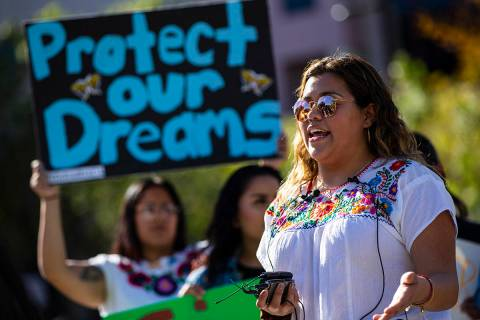 UNLV student Joseline Cuevas speaks during a rally in support of DACA recipients at UNLV in Las ...