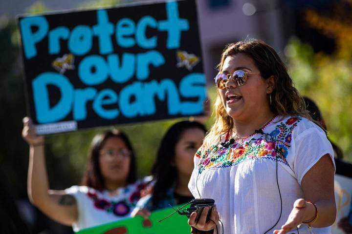 UNLV student Joseline Cuevas speaks during a rally in support of DACA recipients at UNLV in Las ...