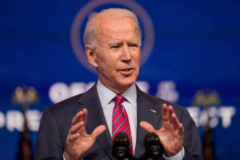 President-elect Joe Biden speaks about jobs at The Queen theater, Friday, Dec. 4, 2020, in Wilm ...