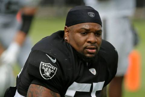 In this July 29, 2019, file photo, Oakland Raiders linebackers Vontaze Burfict gets up after st ...