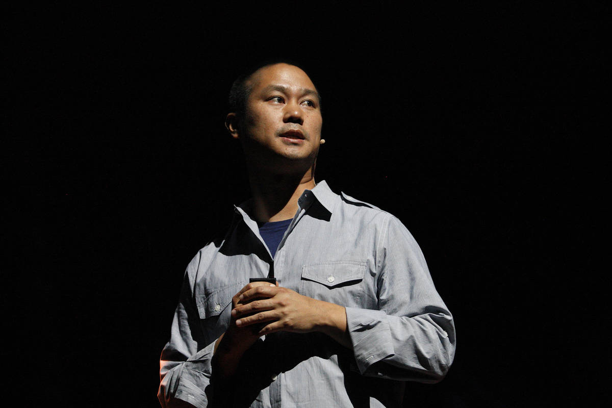 Zappos former CEO Tony Hsieh, shown here in 2012, died on Nov. 27 at age 46 after being injured ...