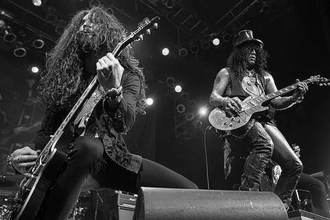 Las Vegas rocker Frankie Sidoris, left, is a member of Slash's band Myles Kennedy and the Consp ...