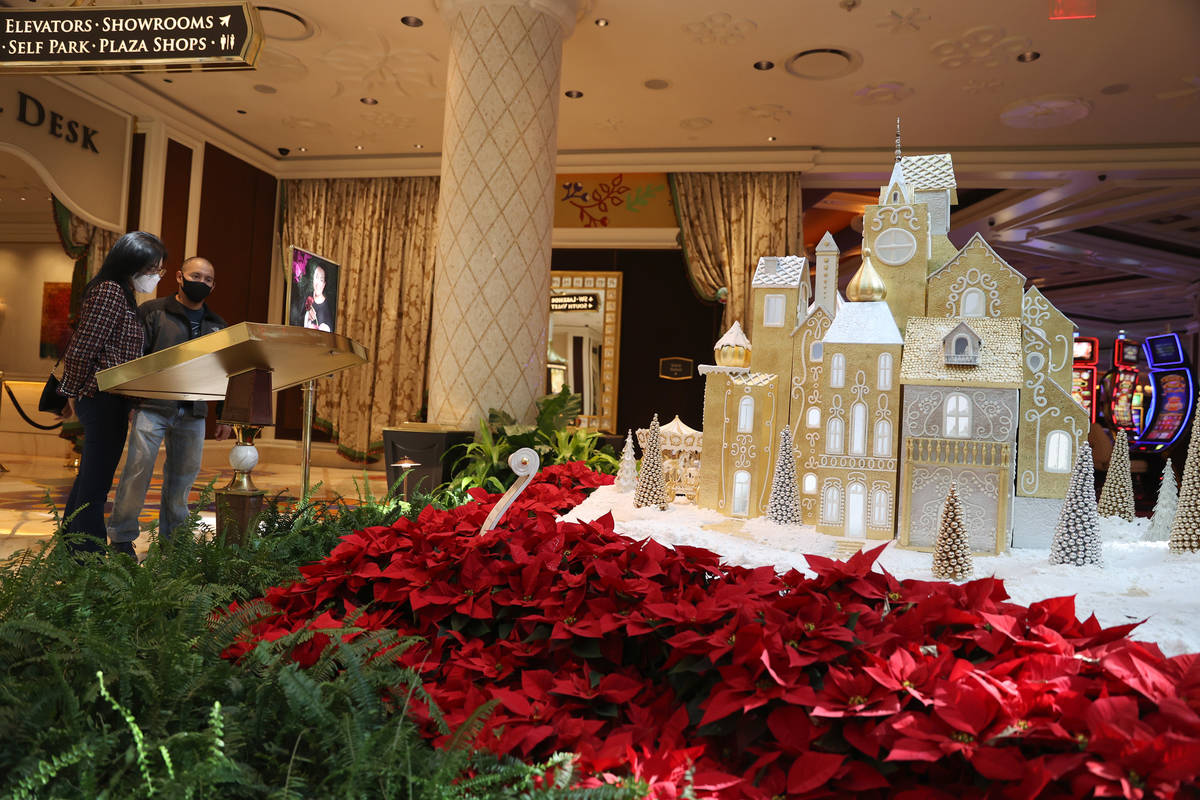 Winter villages decorate the Wynn Las Vegas atrium for the holidays on Thursday, Dec. 3, 2020. ...
