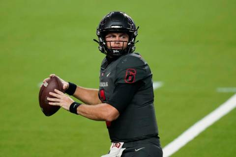 UNLV quarterback Max Gilliam (6) plays against Nevada during the second half of an NCAA college ...